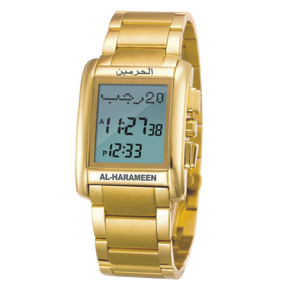 AL Harameen Origin Muslim Azan Sports Watch Prayer Wriste Watch 6208 Gold High Elegant Waterproof Best Muslim Products 1pcs al harame origin al harameen unisex muslim azan watch prayer wriste watch 6464 silver high elegant wterproof best nuslim product