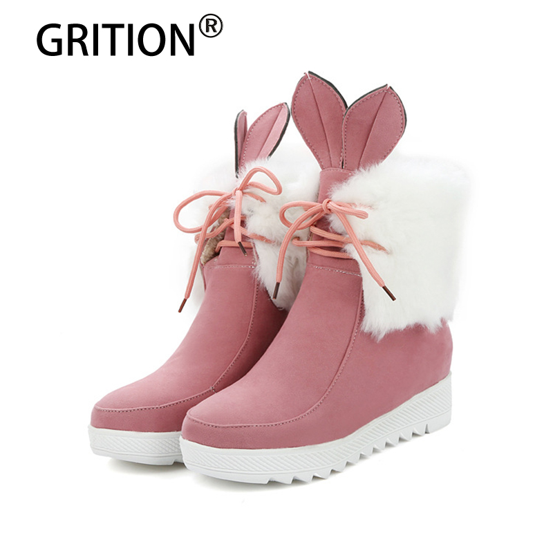 GRITION New Arrival Winter Lovely Pink White Grey Black Women Boots Fashionable Rabbit Knot Warm Flock Increasing  Snow Boots trousselier музыкальная шкатулка little grey rabbit© rabbit trousselier grey