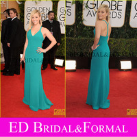 Reese Witherspoon Dress Trumpet V Neck Aqua Chiffon 2014 Golden Globes Awards Celebrity Inspired Prom Dress