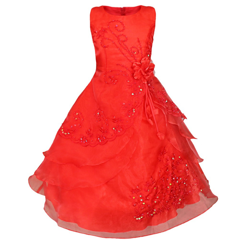 Cute Flower Girl Dress Children Red Mesh Lace Princess Girls Wedding Dress Kids Ball Gown Embroidered Bow Party Dress 3-14Years teenage girl party dress children 2016 summer flower lace princess dress junior girls celebration prom gown dresses kids clothes