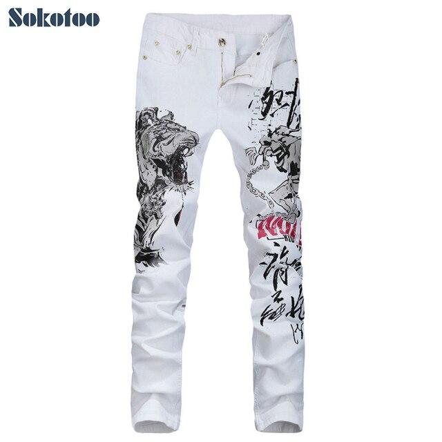 f6bc060b5 Nueva llegada de Los Hombres tigre animal print jeans Moda delgado blanco  de mezclilla pantalones para hombre pantalones Largos en Pantalones  vaqueros ...