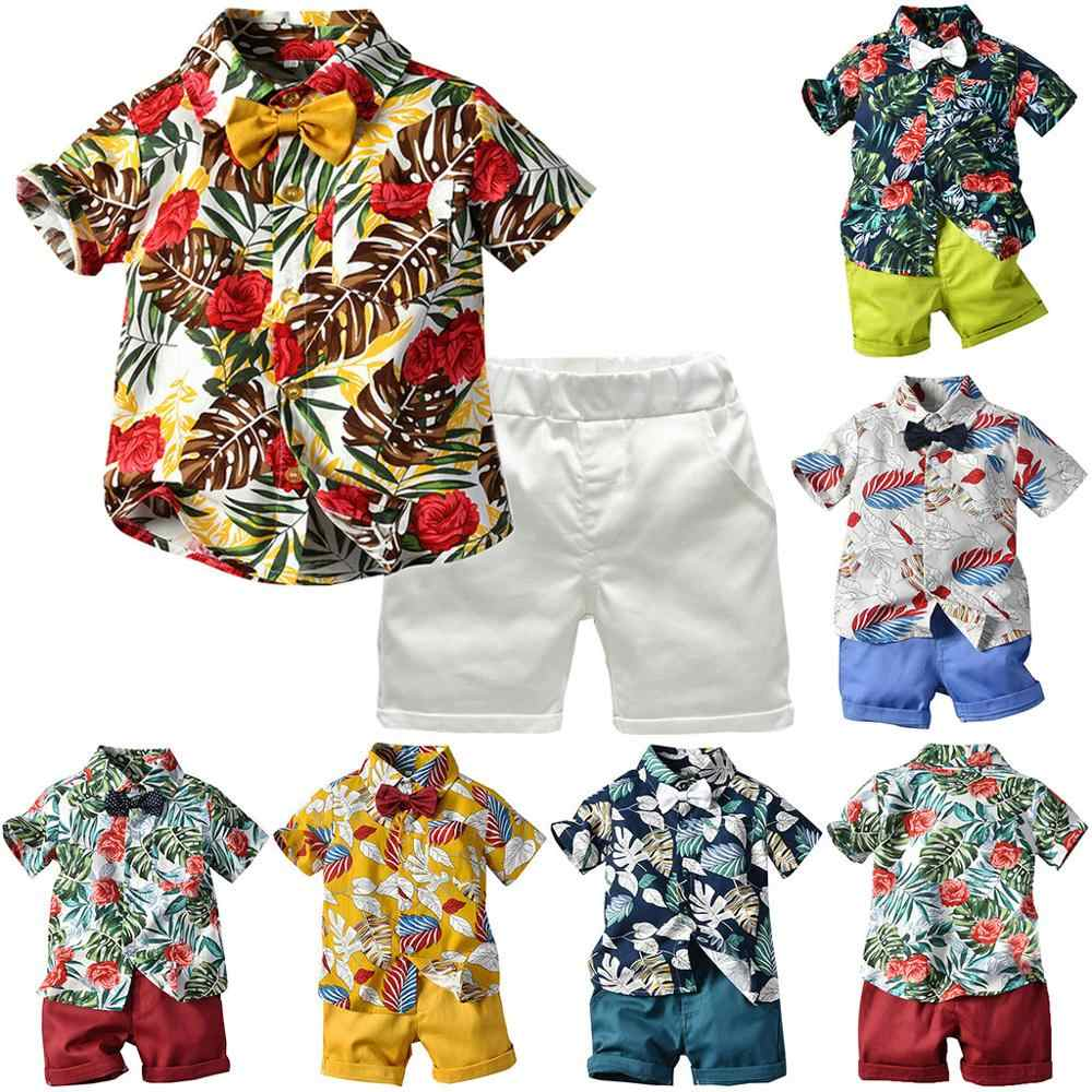 Baby Boy Girl Clothes Toddler Baby Boy Cotton Set Short Sleeve Bow Tie Gentleman Leaf T-Shirt Tops Shorts Outfits 2019 Newest