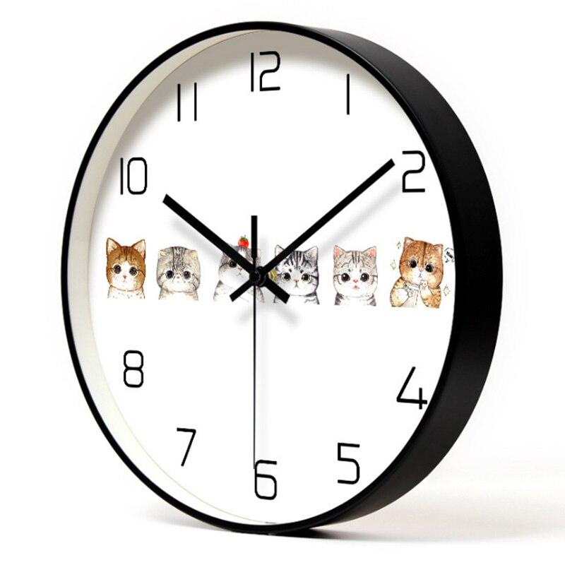 Chats en Amour En Métal Horloge Murale Amant Kitty En Métal Art Horloge Animaux en Amour Chats et Fishbone Décoratif Horloge Murale décor à la maison Gif