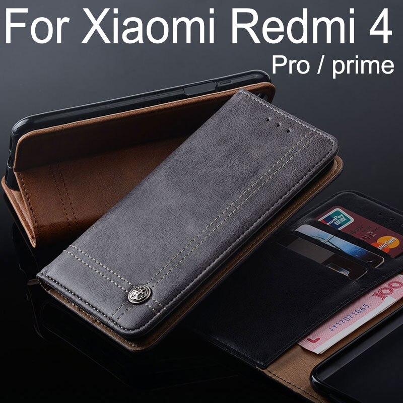 Für Xiaomi Redmi 4 pro fall Luxury Leder Flip-cover Ständer Kartensteckplatz Vintage Fällen für Xiaomi Redmi 4 pro prime Ohne magneten