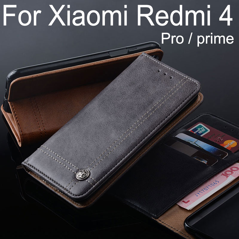for Xiaomi Redmi 4 pro case Luxury Leather Flip cover Stand Card Slot Vintage Cases for Xiaomi Redmi 4 pro prime Without magnets