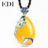 EDI Vintage Peacock Jade Pendant 925 sterling silver necklaces & pendants Topaz Gemstone Pendant Fine Jewelry for women