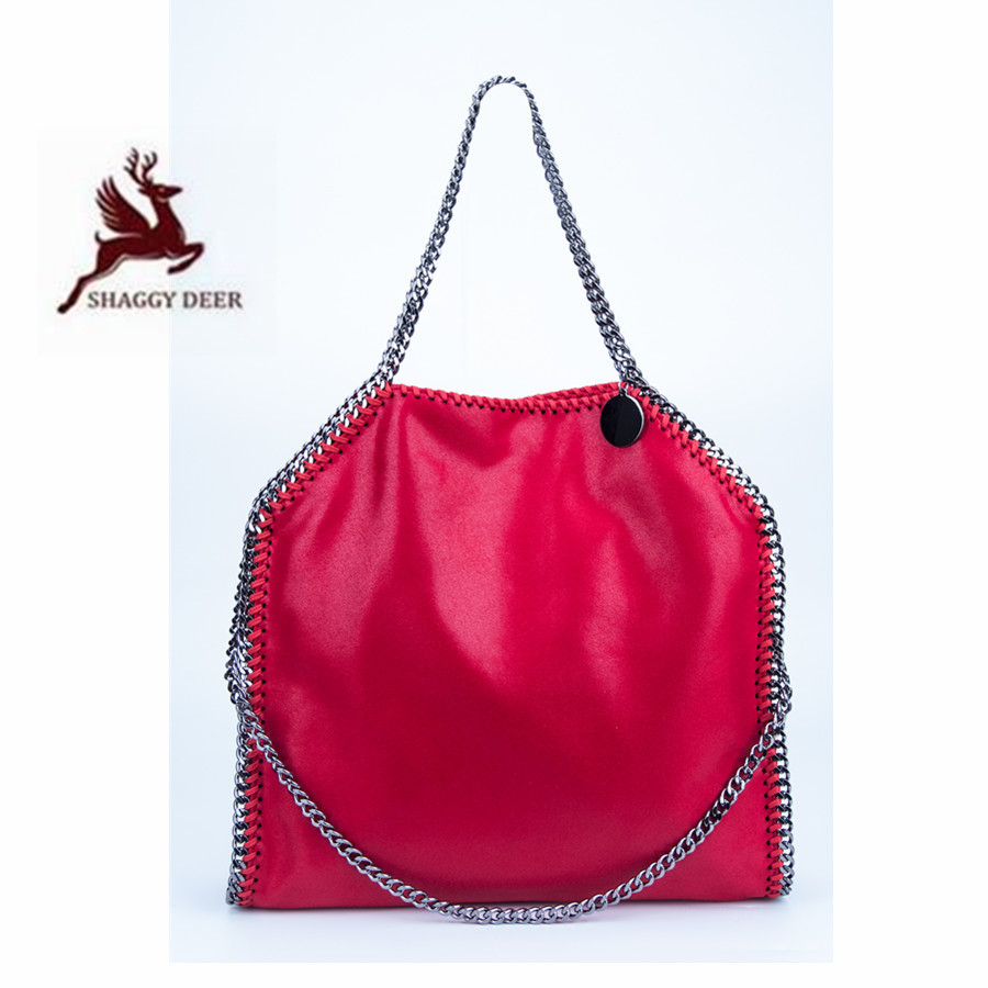 2018 New Color Shaggy Deer Brand Luxury Quality Red Falabellas 3 Chain Fold-Over Classical PVC Handbag Crossbody Steel Chain Bag new high quality pvc shaggy deer mini mobile phone key purse flap bag simple luxury crossbody zip pocket stella chain bag