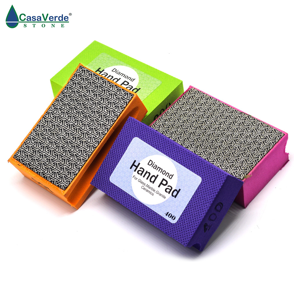 DC-XEHPP01 Diamond Hand Polishing Pad 90*55mm Foam Backed Glass Polishing Pad Stone Ceramic Tile Grinding Diamond Abrasive Pads