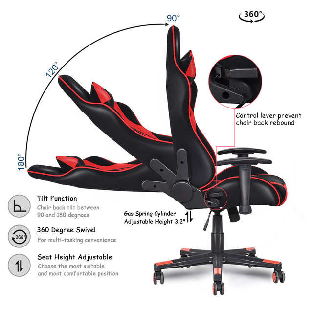 Reclining Gaming Chair And Accessories Online Shop Giantex Racing Style High Back Recliner Placeholder Modern Mesh Swivel Computer Office Ergonomic