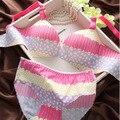 Novo Luxo impressão respirável V profundo reunir sutiã ajustável conjunto de roupa interior das meninas peça de lingerie sem costura conjunto de sutiã e calcinha
