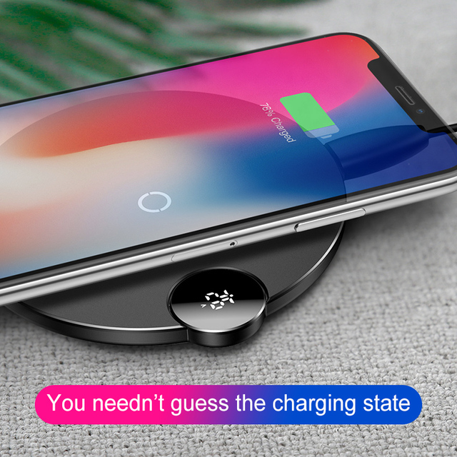 low priced 910ba 626d2 US $14.66 28% OFF|Baseus LCD Digital Display Wireless Charger for iPhone XS  Max XR X 8 Qi Wireless Charging Pad for Samsung Galaxy S8 S9+ Note 9-in ...