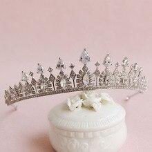 Серебряный Прозрачного Хрусталя Стразами CZ Кубического Циркония Свадьбы Тиару Свадебный Королева Принцесса Pageant Crown