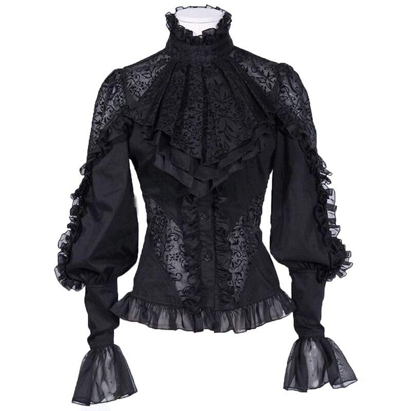 Womens Vogue Punk Gothic Lace Long Sleeve Shirt Lolita Court Blouses Tops Black Mesh Breathable A385