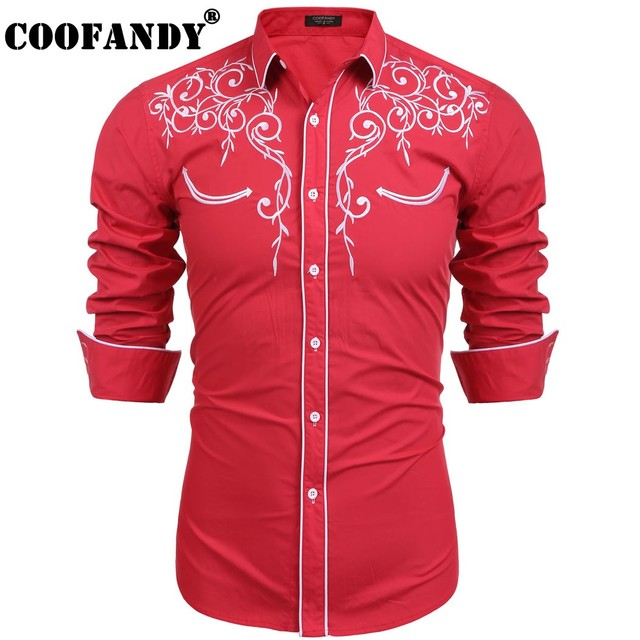 c18a30d90cb9 COOFANDY 2017 Men Shirts Male Wear Top Selling Men s Long Sleeve Embroidery Slim  Fit Casual Button Down Shirt