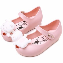 Melissa Summer Lovely Twins Mouse Animal Style For Girls Shoes Jelly Kids Sandals Girl Non-slip Sandal Toddler