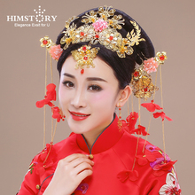Elegance Chinese Vintage Wedding Bridal Hair Accessory Traditional Red Flower Bride Combs Hairpins Tiaras Hairwear Earrings