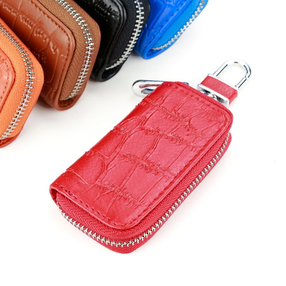 Multifunction Key Bag Alligator Pattern Leather Key Wallet Useful Zipper Car Key Case Portable Hook Key Holder