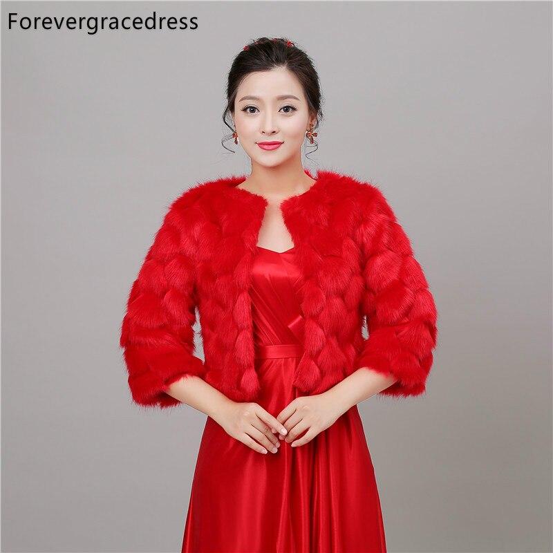 Forevergracedress Red Autumn Winter Season Faux Fur Wedding Wrap Bolero Jackets Bridal Coat Cape Cloak Shawls Scarves In Stock