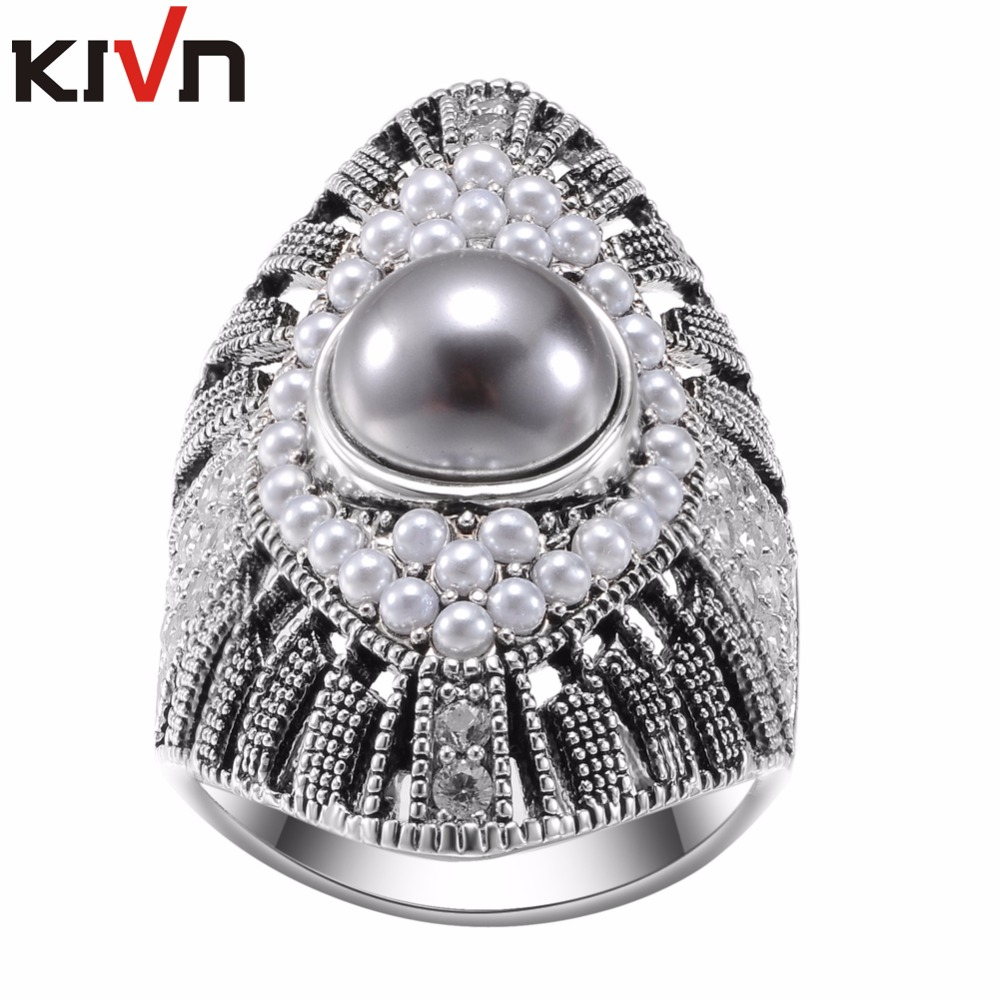 KIVN Fashion Jewelry Indian Antique Vintage Wedding Bridal Engagement Simulated Pearl Rings for Womens Girls Birthday Gifts