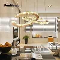 Smart Moderne LED Kristall Kronleuchter 2 C Anhänger Licht Decke Beleuchtung Wohnzimmer Esszimmer Leuchte Lampe Fernbedienung Dimmen