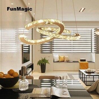 Thông minh Modern LED Crystal Chandelier 2 C Ánh Sáng Mặt Dây Chuyền Chiếu Sáng Trần Sống Phòng Ăn Đèn Lịch Thi Đấu Điều Khiển Từ Xa Mờ