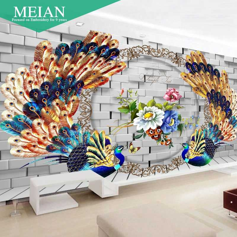 2016 New Decoration Diamond Painting Background Wall Peacock Diamond Embroidery Diamond Mosaic for Decoration of Walls