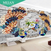 New 5D Floral Peacock Diamond Drill Cube Painting Stick Cross Stitch Embroidered Diamond Diamond TV