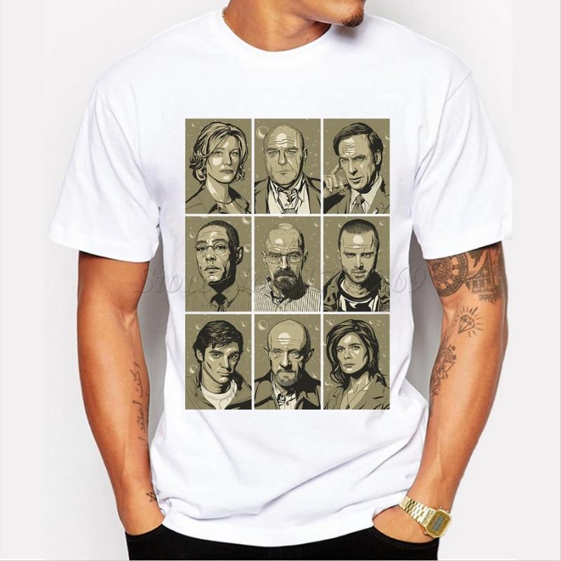 Популярные мужские футболка Breaking Bad символов принтом в стиле ретро  Мужская модная футболка с короткими рукавами повседневные топы Битник  Забавный ... b2c245c6422e3
