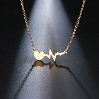 Stainless Steel Necklace For Women Gold And Silver Color Love Electrocardiogram Pendant Necklace Engagement Jewelry Fashion Jewelry