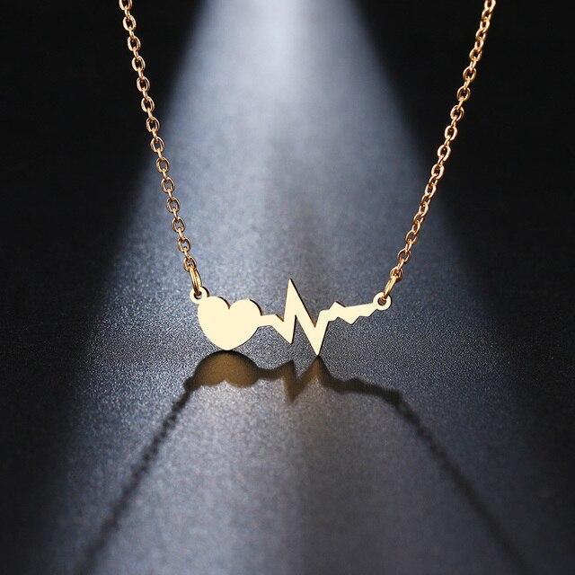 DOTIFI Thép Không Gỉ Vòng Cổ Cho Phụ Nữ Vàng Và Bạc Màu Tình Yêu Điện Tâm Đồ Mặt Dây Chuyền Vòng Cổ Đồ Trang Sức Đính Hôn