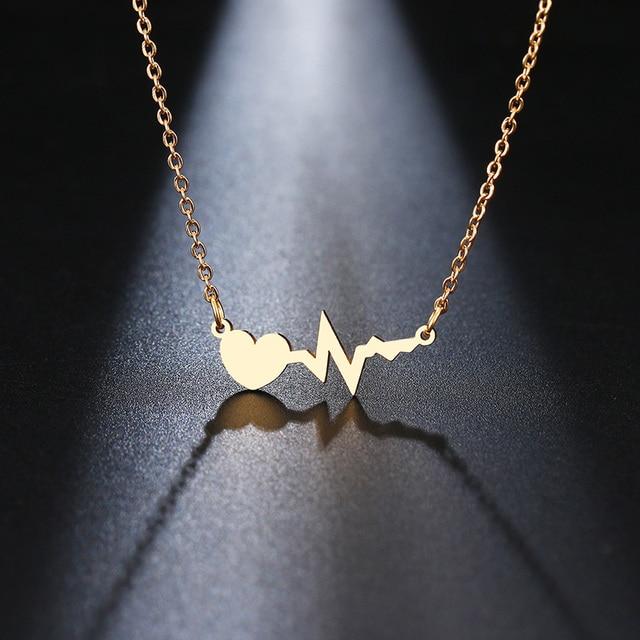 DOTIFI قلادة من الفولاذ المقاوم للصدأ للنساء الذهب والفضة اللون الحب الكهربائي قلادة قلادة المشاركة المجوهرات