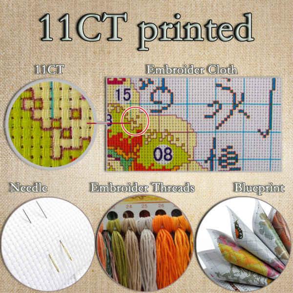 Parijs bloem markt kleurrijke decor schilderen geteld gedrukt op canvas DMC 11CT 14CT kits Kruissteek borduren handwerken Sets