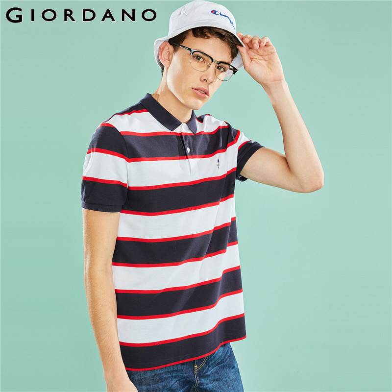 Giordano Men   Polo   Shirt Men Embroidered Pattern Slim Fitting Striped   Polo   Men Shirt Fashion Brand   Polo   Homme