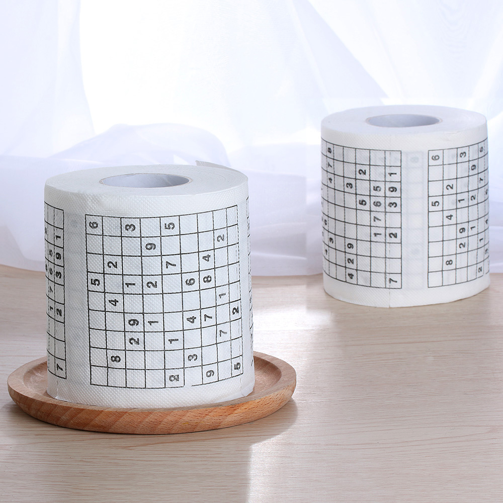 Hot Sale 1 Roll 2 Ply Novelty Funny Number Sudoku Printed WC Bath Funny Soft Toilet Paper Tissue Bathroom Supplies Gift Dropship