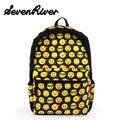 Korean Emoji Backpack Fashion Women Canvas Backpacks Smiley Face Printing School Bag For Teenagers Girls Bookbag For School