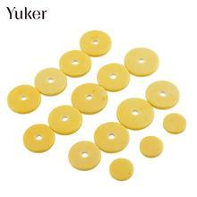Yuker 16pcs /4 Size Flute Pads Replacement Woodwind Close Hole Mat tone Repair Yellow Musical Accessory
