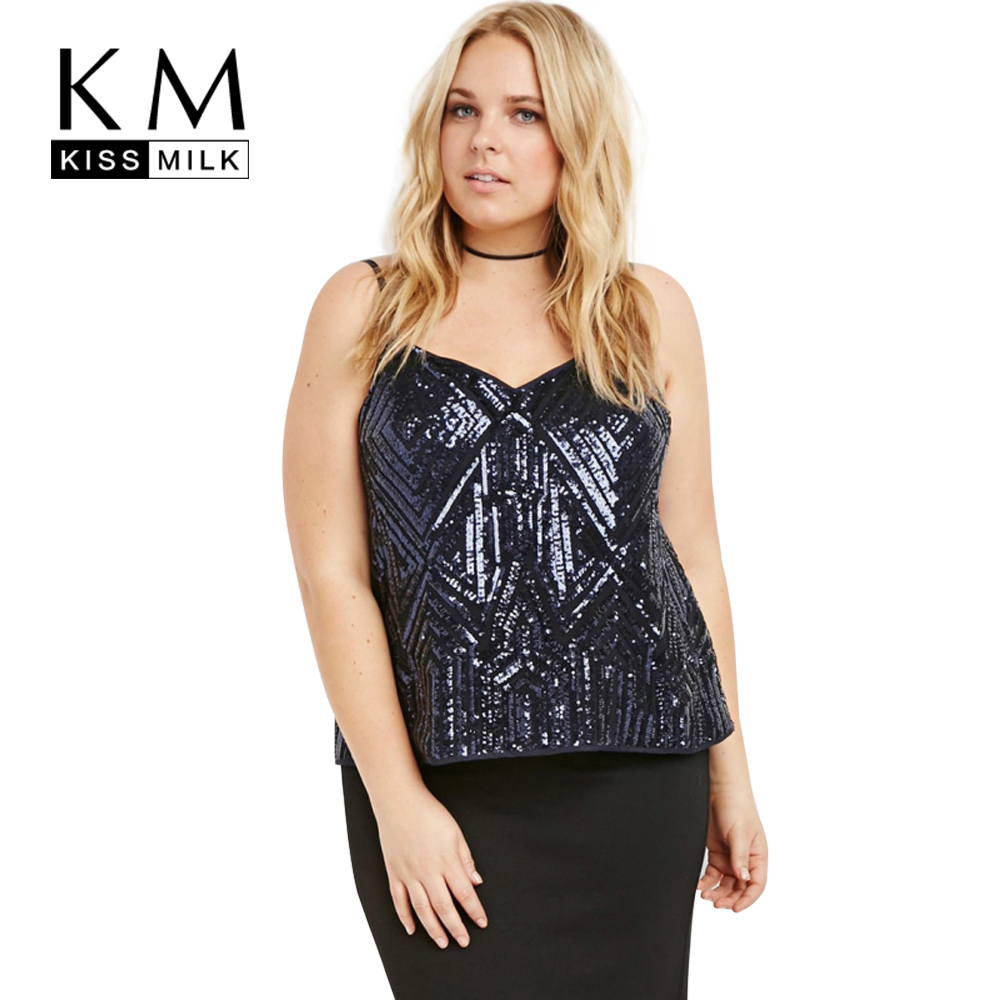 Kissmilk Plus Size New Fashion Women Clothing Casual Backless Blingbling  Tops Sexy Big Size Camisole 3XL e585e7239f61