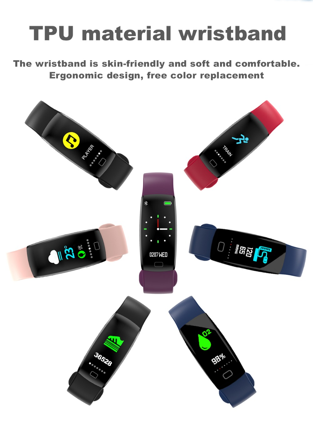 Torntisc F64HR Heart rate smart bracelet IP68 Waterproof Color screen Blood pressure oxygen Fitness tracker Smart band GPS watch (7)