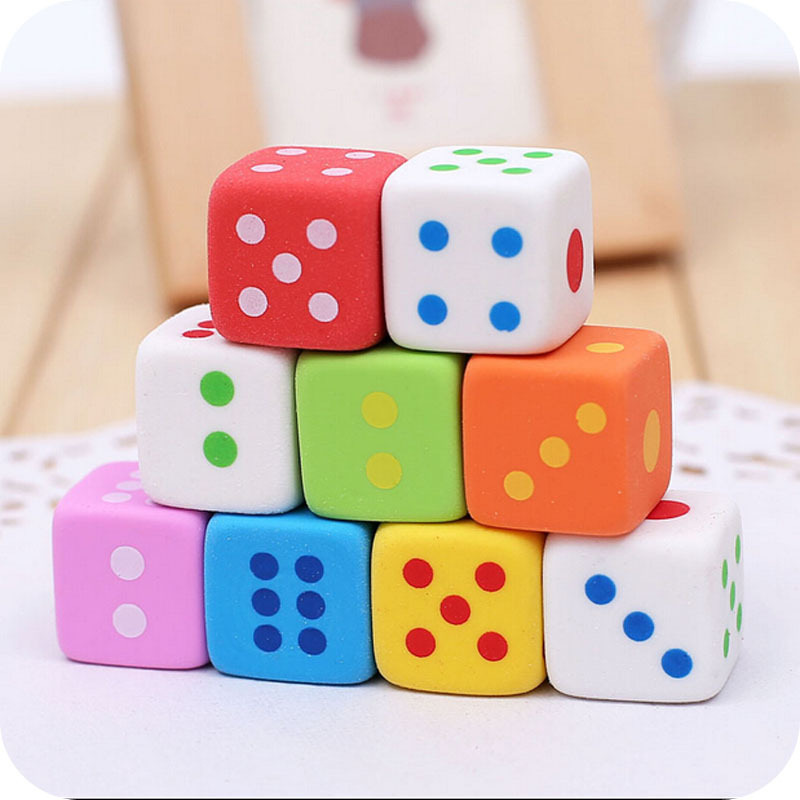 3pcs Random Colorful Dice Shape Pencil Erasers Simple Creative School Gift For Kids Correction Supplies Office Stationery