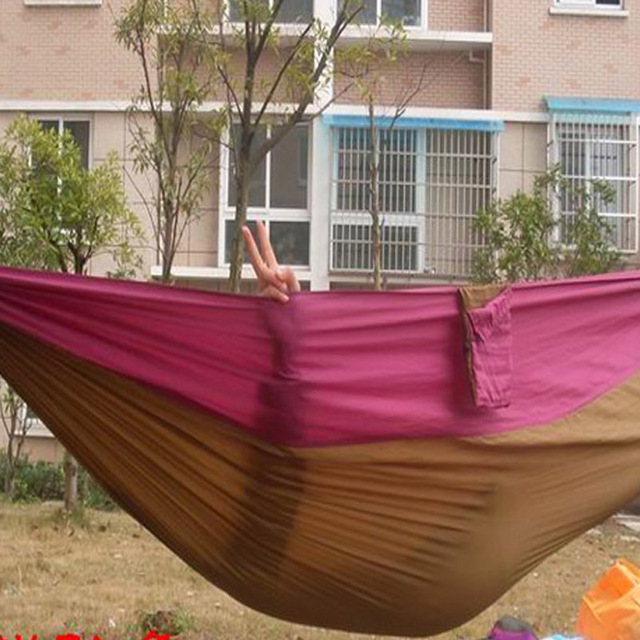 Portable Outdoor Traveling Camping Parachute Nylon Fabric Hammock for Two Person 6 Colors High Quality
