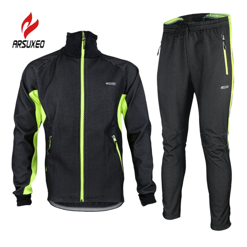 ФОТО ARSUXEO 3 Color Winter Unisex Fleece Cycling Jersey Sets Warm Thermal Bike Bicycle Jacket and Full Pants Windproof Sportswear