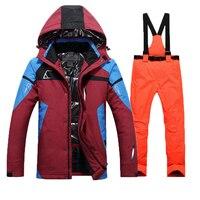 Лыжный костюм для мужчин непромокаемые термальность сноуборд куртка + брюки для девочек мужской горные Лыжный спорт и сноуборд