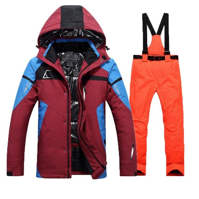 Лыжный костюм, Мужская водонепроницаемая термальная куртка для сноуборда + штаны, мужские Горные лыжи и сноубординг, зимний комплект одежды, хит