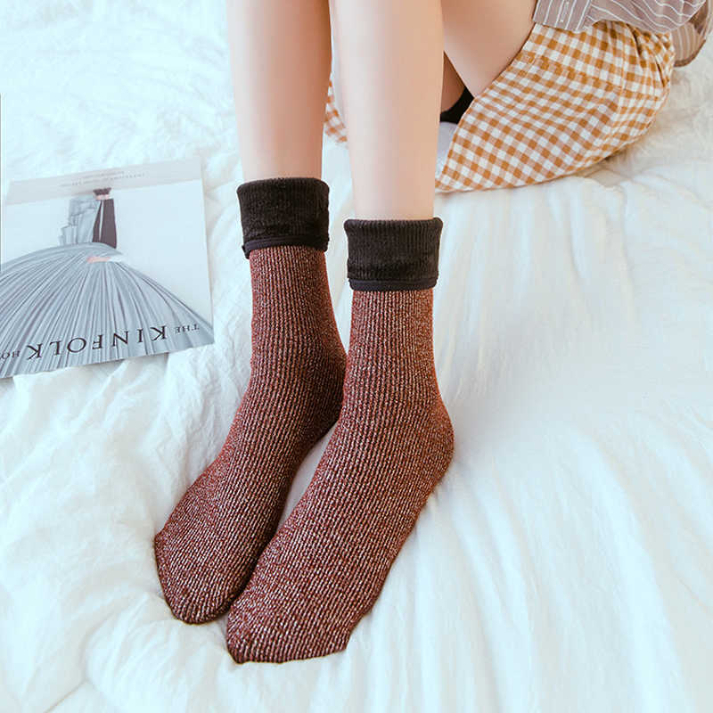 3717680d91a ... Women Warm Socks Wool Cashmere Thicken Thermal Winter Socks Thermal  Moisture proof Women Pregnant Floor Home ...