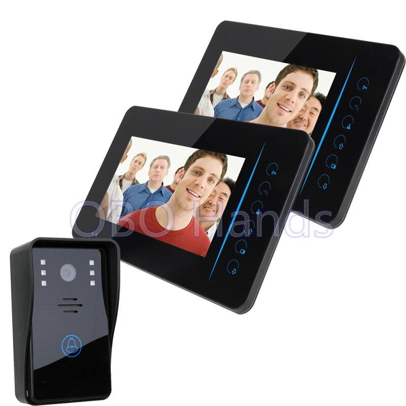 """7"""" Wireless Color Video door phone Intercom video doorbell kit IR system outdoor camera 2 screen+1 outdoor doorbell"""