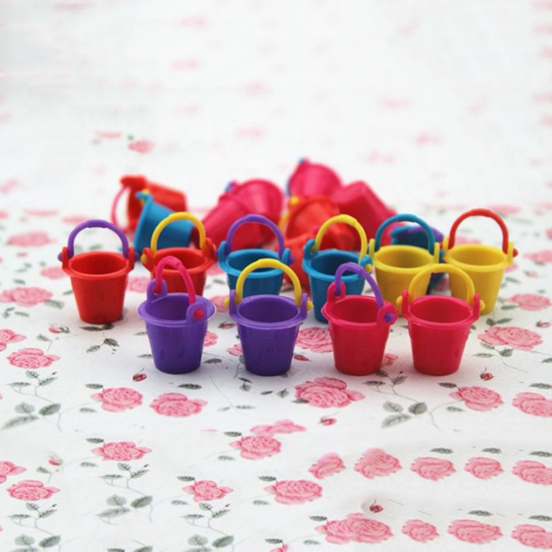 3 Pcs/lot Kawaii Mini Small Bucket Miniature Dollhouse Accessories Simulation Pail Model Toys