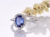 Luxury Tanzanite Engagement Ring 6x8mm Oval Cut Solid 14K Gold Diamond Band Bridal Wedding Ring Birthstone