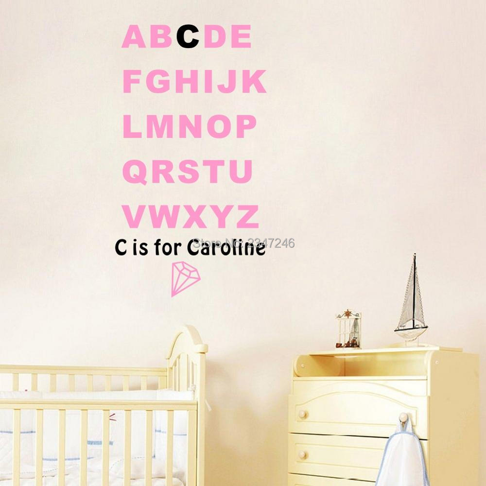 Personalized kids name alphabet wall stickers letter wall for Alphabet wall decoration