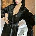 Das Mulheres novas Sexy Lace Seda Camisola De Cetim + Roupão Nightdress Homewear Conjuntos Pijamas de Manga Longa Sleepwear Conjunto salão feminino