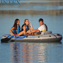 INTEX 3 Person Inflatable Fishing Boat Rubber Rowing Boat Boat With Oars And Pumps Fishing Kayak Bateau Gonflable